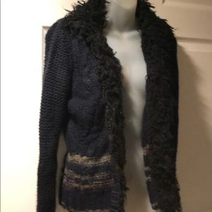 Free People Navy Open Front Chunky Knit Cardigan M